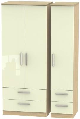 Knightsbridge 3 Door 4 Drawer Wardrobe - High Gloss Cream and Light Oak