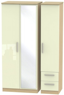 Knightsbridge 3 Door 2 Right Drawer Combi Wardrobe - High Gloss Cream and Light Oak