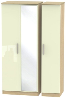 Knightsbridge 3 Door Mirror Wardrobe - High Gloss Cream and Light Oak
