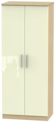 Knightsbridge 2 Door Wardrobe - High Gloss Cream and Light Oak