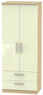 Knightsbridge 2 Door 2 Drawer Wardrobe - High Gloss Cream and Light Oak