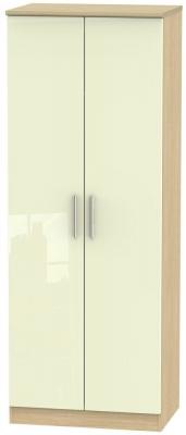 Knightsbridge 2 Door Tall Wardrobe - High Gloss Cream and Light Oak