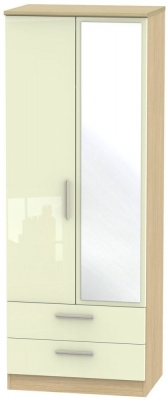 Knightsbridge 2 Door Tall Combi Wardrobe - High Gloss Cream and Light Oak