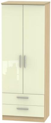 Knightsbridge 2 Door 2 Drawer Tall Wardrobe - High Gloss Cream and Light Oak