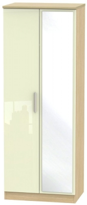 Knightsbridge 2 Door Tall Mirror Wardrobe - High Gloss Cream and Light Oak