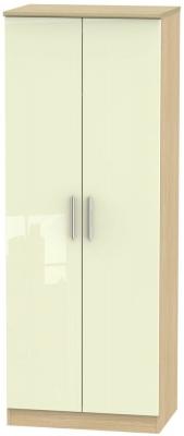 Knightsbridge 2 Door Tall Hanging Wardrobe - High Gloss Cream and Light Oak