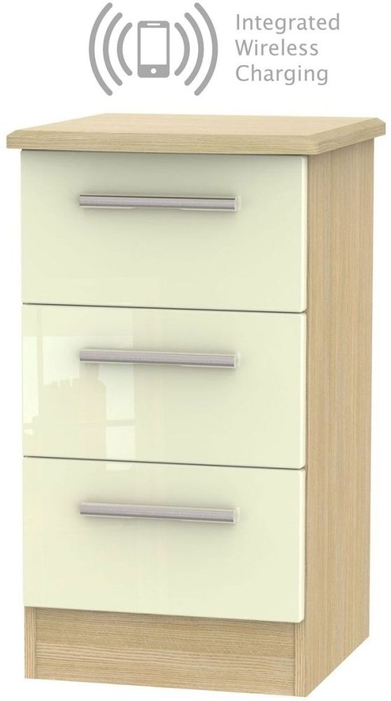 Knightsbridge 3 Drawer Bedside Cabinet with Integrated Wireless Charging - High Gloss Cream and Light Oak