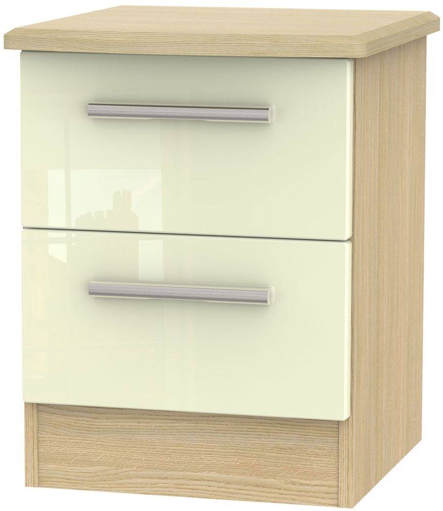 Knightsbridge High Gloss Cream and Light Oak Bedside Cabinet - 2 Drawer Locker