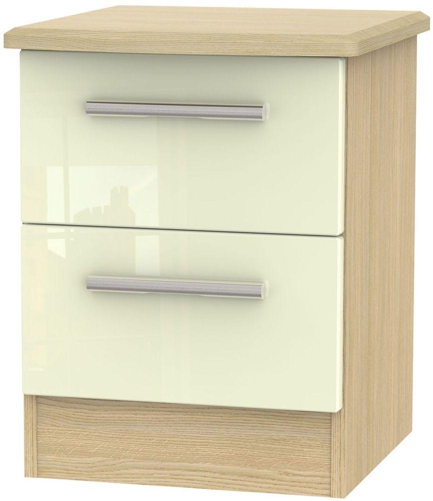 Knightsbridge High Gloss Cream and Light Oak 2 Drawer Locker Bedside Cabinet