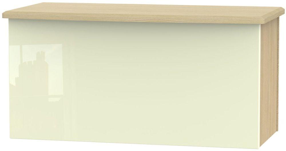 Knightsbridge Blanket Box - High Gloss Cream and Light Oak