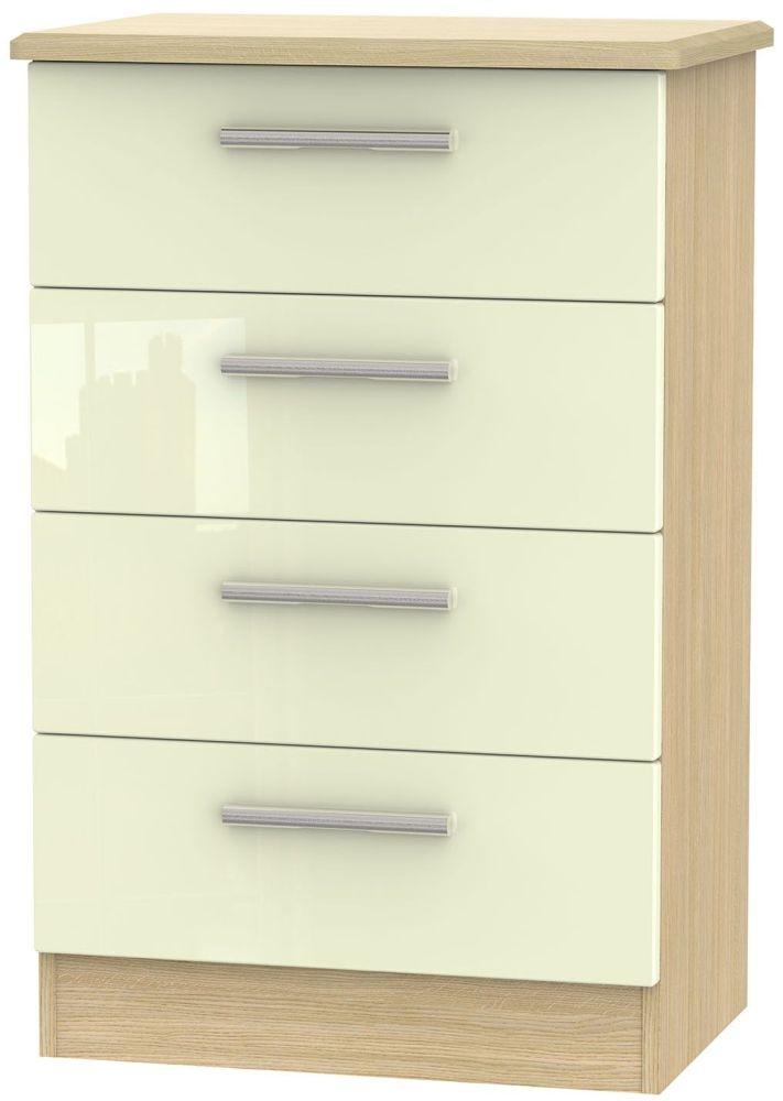 Knightsbridge High Gloss Cream and Light Oak Chest of Drawer - 4 Drawer Midi