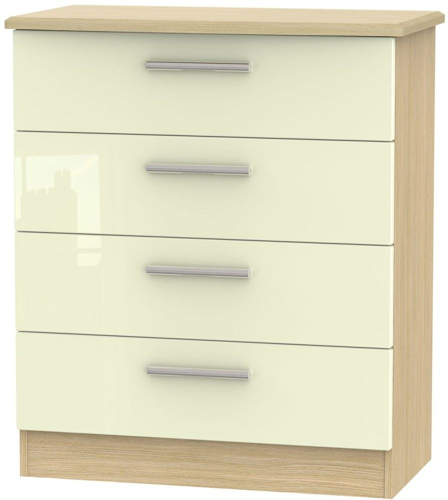 Knightsbridge High Gloss Cream and Light Oak Chest of Drawer - 4 Drawer