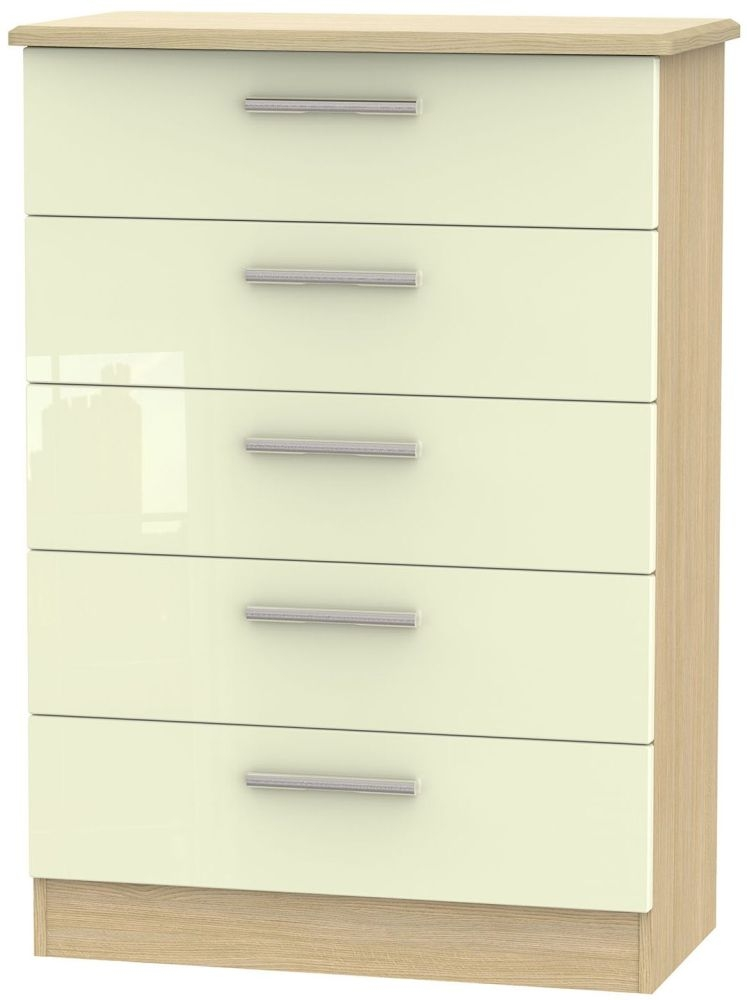 Knightsbridge High Gloss Cream and Light Oak Chest of Drawer - 5 Drawer