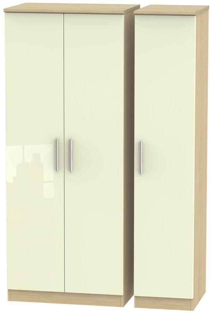 Knightsbridge 3 Door Wardrobe - High Gloss Cream and Light Oak