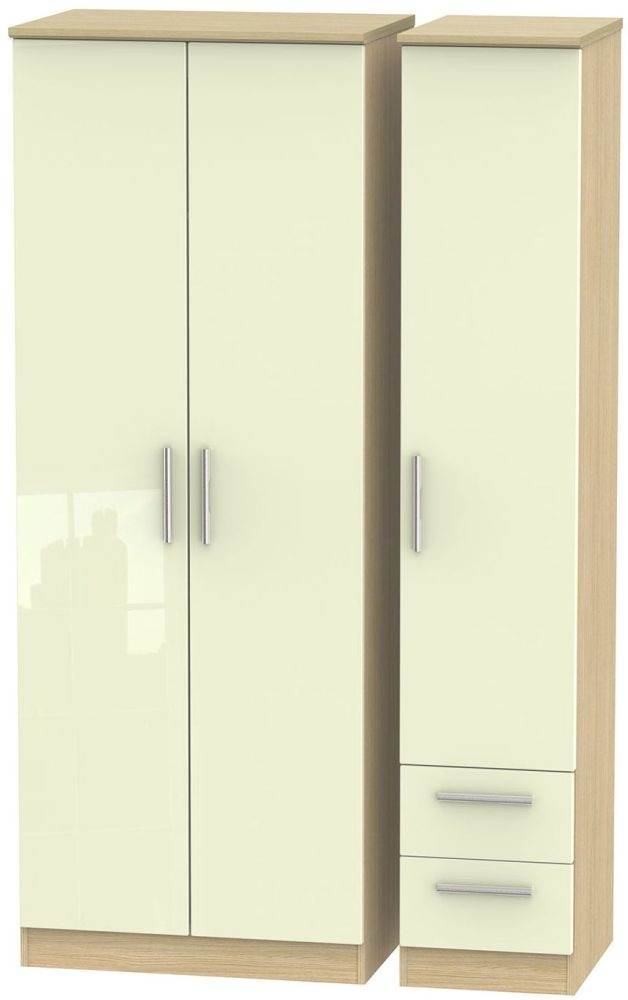 Knightsbridge High Gloss Cream and Light Oak Triple Wardrobe - Tall Plain with 2 Drawer