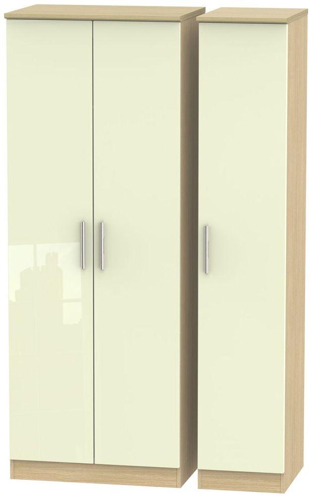 Knightsbridge High Gloss Cream and Light Oak Triple Wardrobe - Tall Plain