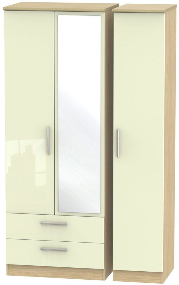 Knightsbridge High Gloss Cream and Light Oak Triple Wardrobe - Tall with 2 Drawer and Mirror