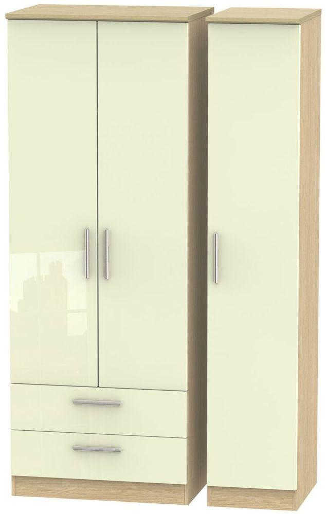 Knightsbridge High Gloss Cream and Light Oak Triple Wardrobe - Tall with 2 Drawer