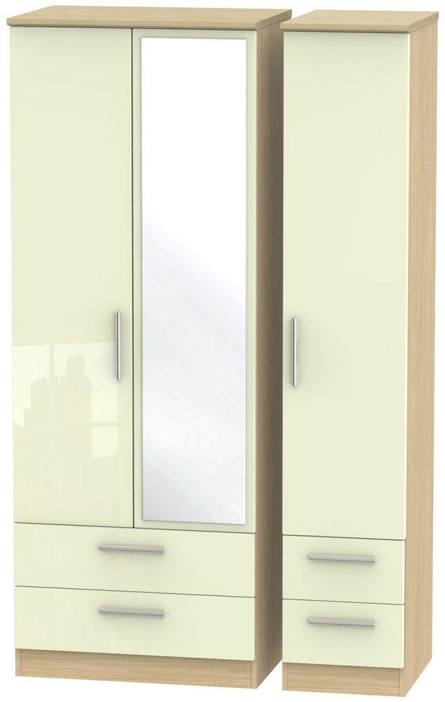 Knightsbridge High Gloss Cream and Light Oak Triple Wardrobe - Tall with Drawer and Mirror