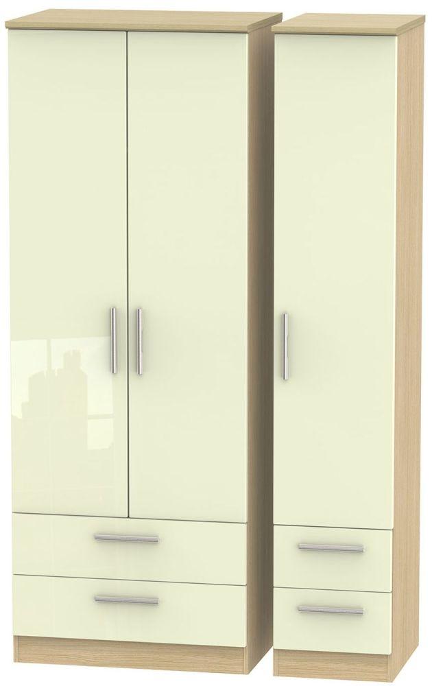 Knightsbridge High Gloss Cream and Light Oak Triple Wardrobe - Tall with Drawer