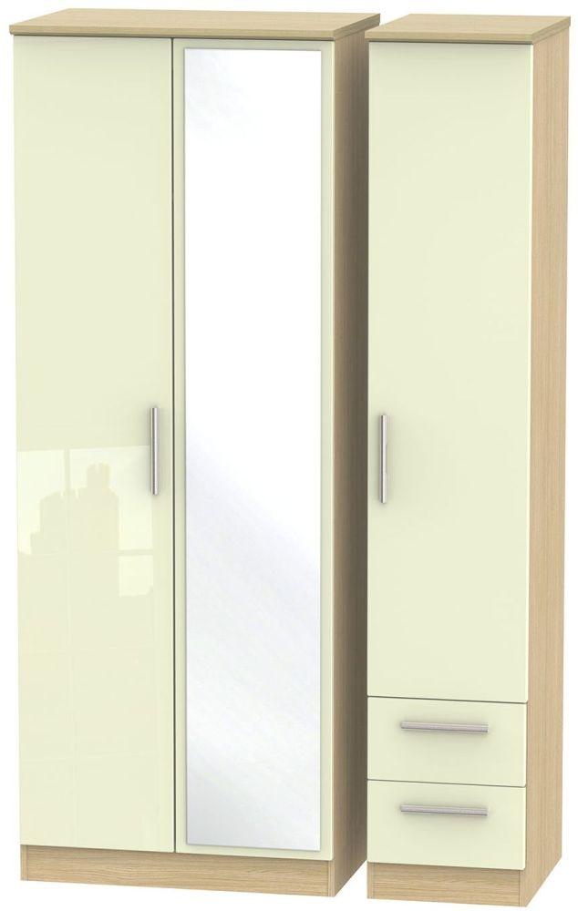 Knightsbridge High Gloss Cream and Light Oak Triple Wardrobe - Tall with Mirror and 2 Drawer