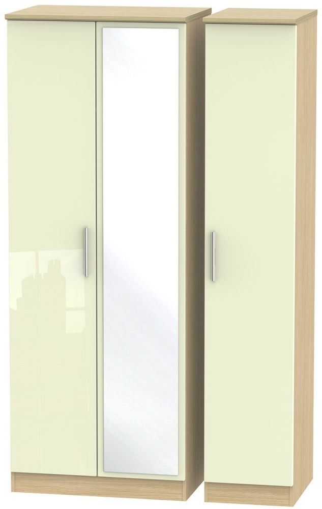 Knightsbridge High Gloss Cream and Light Oak Triple Wardrobe - Tall with Mirror