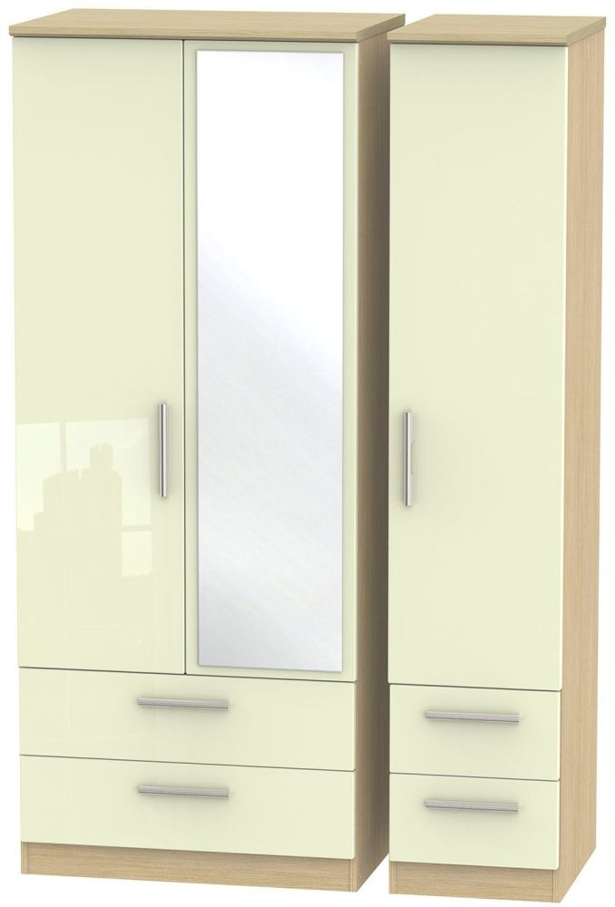 Knightsbridge High Gloss Cream and Light Oak Triple Wardrobe with Drawer and Mirror
