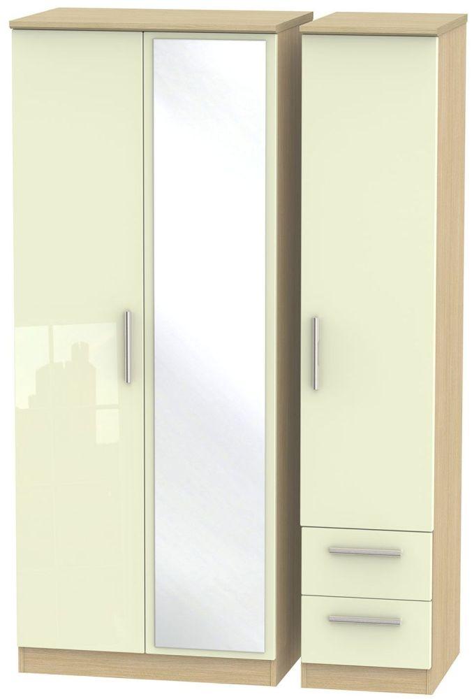 Knightsbridge High Gloss Cream and Light Oak Triple Wardrobe with Mirror and 2 Drawer