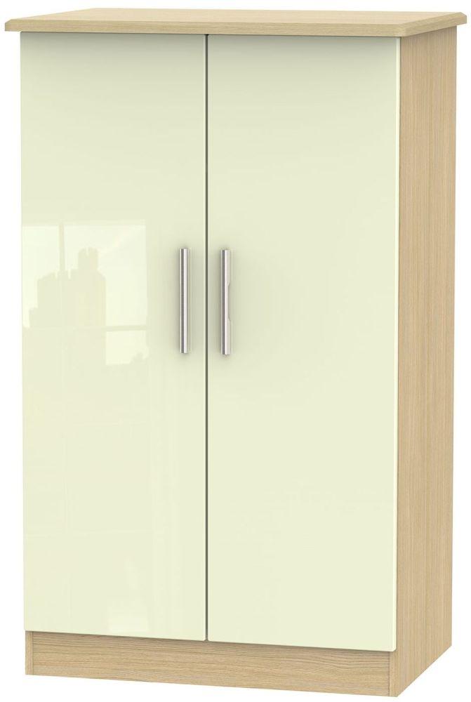 Knightsbridge High Gloss Cream and Light Oak Wardrobe - 2ft 6in Plain Midi