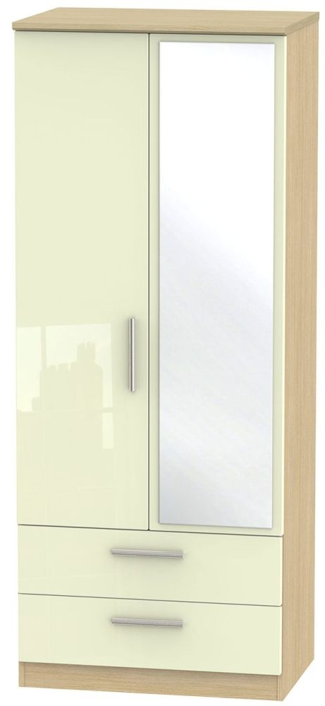 Knightsbridge High Gloss Cream and Light Oak Wardrobe - 2ft 6in with 2 Drawer and Mirror