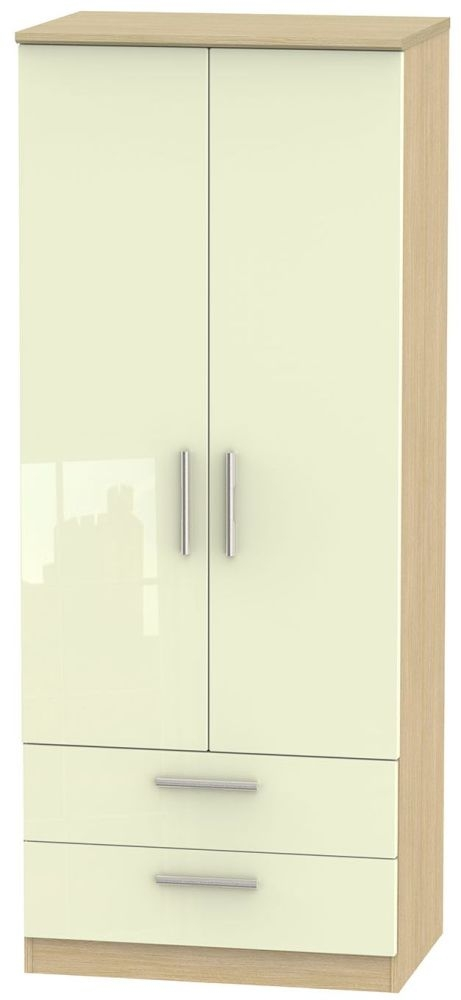 Knightsbridge High Gloss Cream and Light Oak Wardrobe - 2ft 6in with 2 Drawer