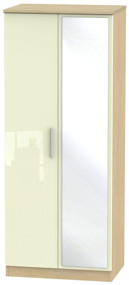 Knightsbridge High Gloss Cream and Light Oak Wardrobe - 2ft 6in with Mirror