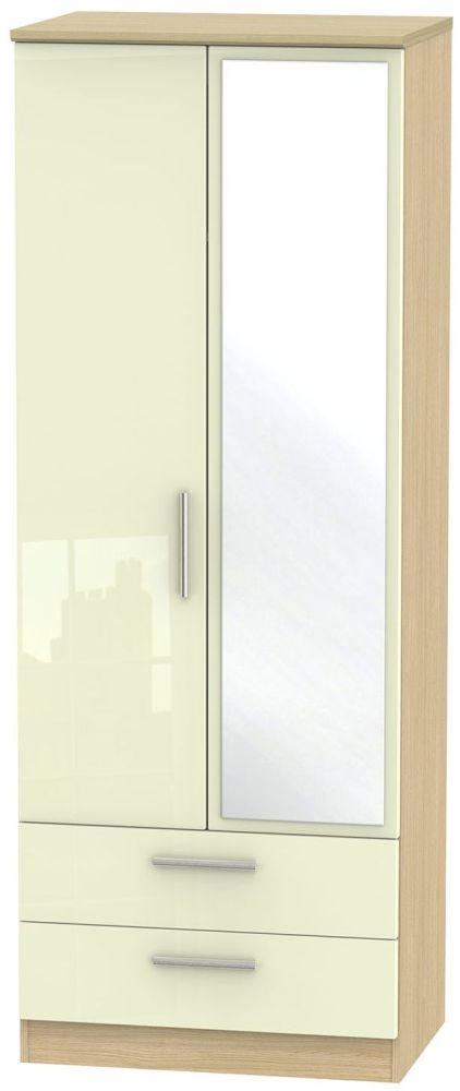 Knightsbridge High Gloss Cream and Light Oak Wardrobe - Tall 2ft 6in with 2 Drawer and Mirror