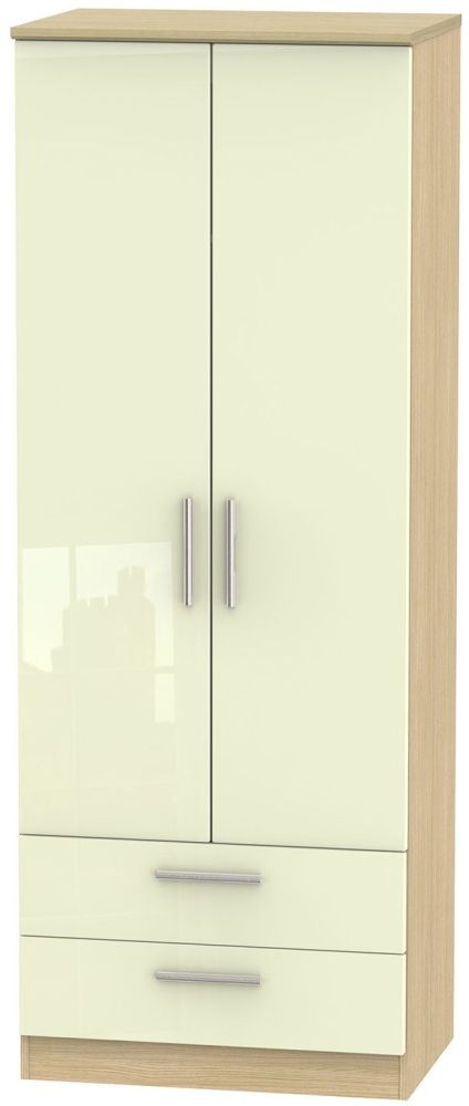 Knightsbridge High Gloss Cream and Light Oak Wardrobe - Tall 2ft 6in with 2 Drawer