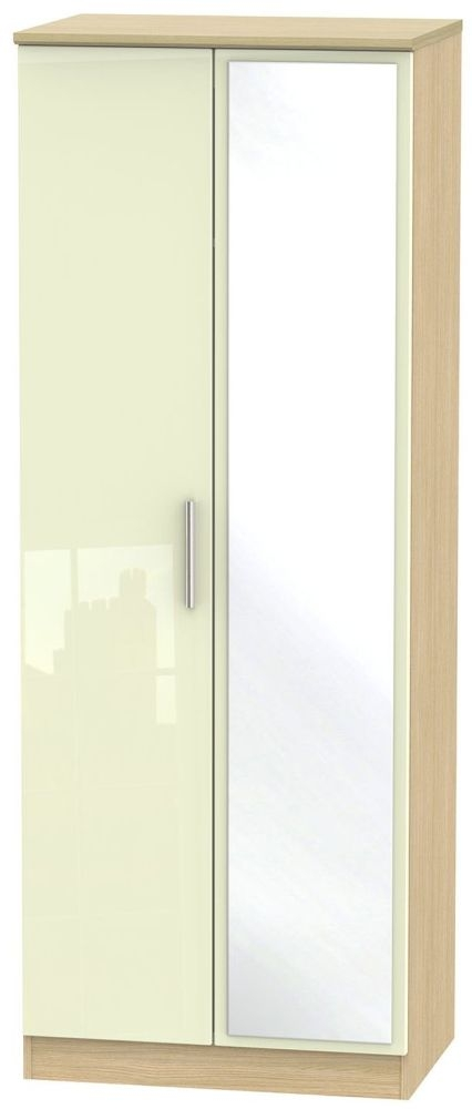 Knightsbridge High Gloss Cream and Light Oak Wardrobe - Tall 2ft 6in with Mirror