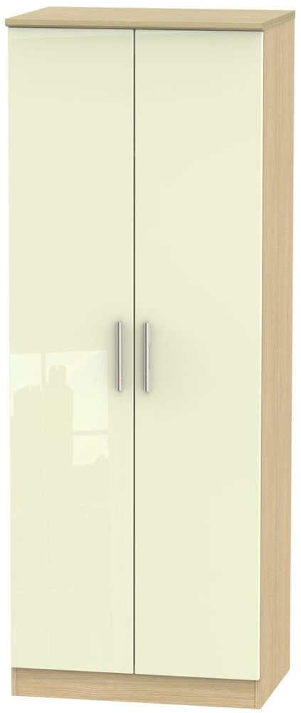 Knightsbridge High Gloss Cream and Light Oak Wardrobe - Tall 2ft 6in with Double Hanging