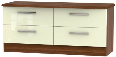 Knightsbridge Bed Box - High Gloss Cream and Noche Walnut