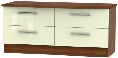 Knightsbridge High Gloss Cream and Noche Walnut Bed Box - 4 Drawer