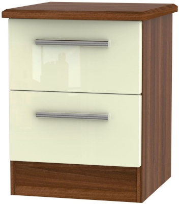 Knightsbridge 2 Drawer Bedside Cabinet - High Gloss Cream and Noche Walnut