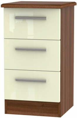 Knightsbridge 3 Drawer Bedside Cabinet - High Gloss Cream and Noche Walnut
