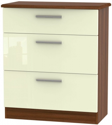 Knightsbridge High Gloss Cream and Noche Walnut Chest of Drawer - 3 Drawer Deep