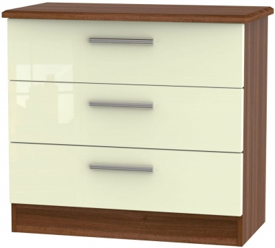 Knightsbridge High Gloss Cream and Noche Walnut Chest of Drawer - 3 Drawer