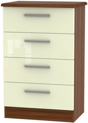 Knightsbridge High Gloss Cream and Noche Walnut Chest of Drawer - 4 Drawer Midi