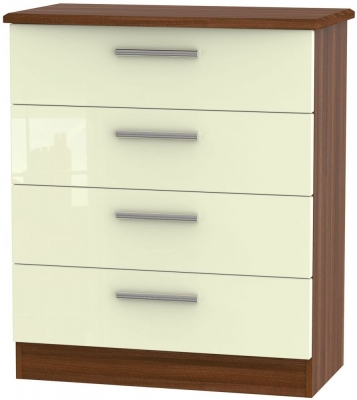 Knightsbridge High Gloss Cream and Noche Walnut Chest of Drawer - 4 Drawer
