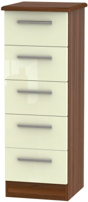 Knightsbridge 5 Drawer Tall Chest - High Gloss Cream and Noche Walnut
