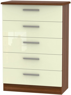 Knightsbridge 5 Drawer Chest - High Gloss Cream and Noche Walnut