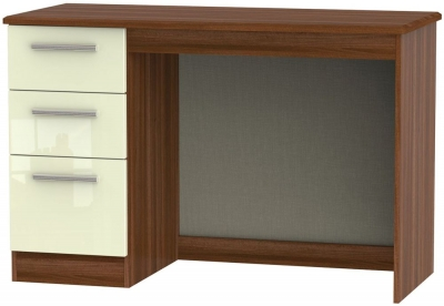 Knightsbridge High Gloss Cream and Noche Walnut Desk - 3 Drawer