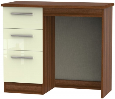 Knightsbridge Single Pedestal Dressing Table - High Gloss Cream and Noche Walnut