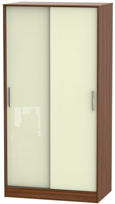 Knightsbridge 2 Door Sliding Wardrobe - High Gloss Cream and Noche Walnut