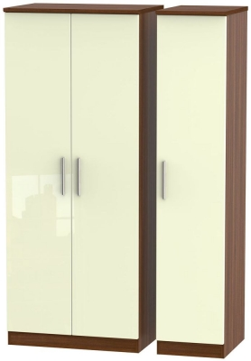 Knightsbridge 3 Door Wardrobe - High Gloss Cream and Noche Walnut